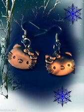 TIBETAN SILVER HELLO KITTY DANGLE EARRINGS/STERLING SILVER HOOKS