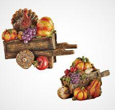 Set of 2 Autumn Harvest Wagons Glittered Fall Thanksgiving Table Shelf Decor