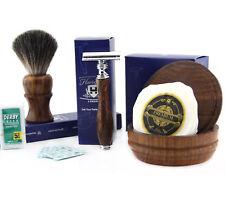 4 PCs Wooden Shaving Set With De Safety Razor,Pure Badger Hair Brush,Soap & Bowl