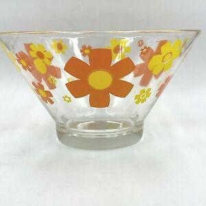 "Vintage Chip Bowl Orange Yellow Daisies Glass MCM 10.75"" Serving Salad  PY3"