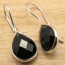 Natural BLACK ONYX Gems Women's Girls Fashionable Earrings ! 925 Silver Plated