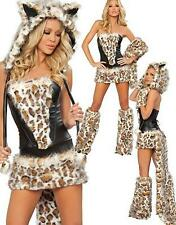 CAT WOMAN ANIMAL PRINT LEOPARD FUR  FANCY DRESS OUTFIT COSTUME small HALF PRICE