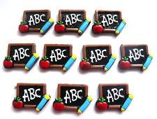 SCHOOL EDUCATION TEACHER FLATBACKS - YOU GET 10 - ABC BLACKBOARD WITH APPLE
