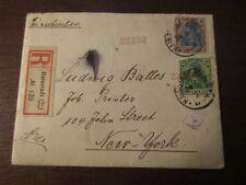 R-Brief 1921 Hainstadt Baden New York USA Einschreiben R-Zettel Infla Germania