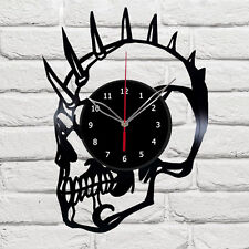 Skull Vinyl Wall Clock Made Of Vinyl Record Original Gift #1