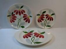 3pc American Heritage Hand Painted Red Daisy Dessert Salad Plate Underpl  1950s
