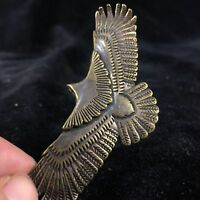 Chinese Rare Old Collectible Handwork Brass copper Eagle Spread Wings Statue