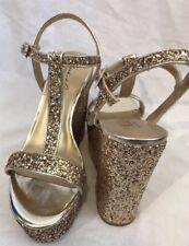Mark James Badgley Mischka Women's Glittery Gold Wedge Platform Sandals Heels 7