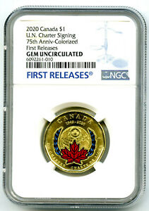 2020 $1 CANADA NGC GEM UNC UN CHARTER COLOR LOON LOONIE DOLLAR FIRST RELEASES