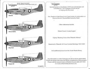 Warbird P-51C/D  Mustang, Tuskegee, Red Tail Aircraft Decals  II 1/48 002