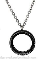 30mm Black Acrylic Floating Charm Memory Locket Necklace Stainless Steel Chain