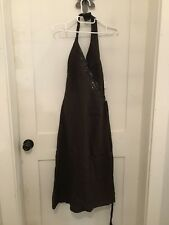 H&M Womens Chocolate Brown Linen Halter Sequin Accent Dress Size 10 NWT