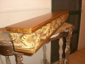 """sHabbY VinTaGe~LARGE ORNATE WALL SHELF~Carved Wood~Old Gold or Paint~40"""" LONG"""