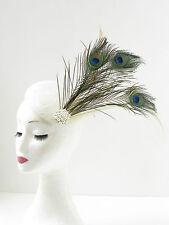 Ivory Cream Green Peacock Feather Fascinator Headpiece Hair Vtg 1920s Races 294