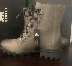 Sorel Women's Phoenix Short Lace-Up Waterproof Leather Ankle Boots Quarry Size 6