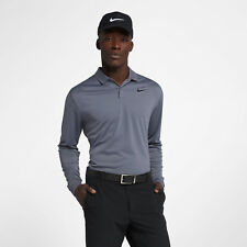 Nike Dri-FIT Victory Men's Long Sleeve Standard Fit Golf Polo M Gray Casual New