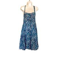 Anthropologie HD in Paris Women Size 2 Acropora Coral Smocked Sun Dress Blue