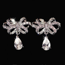 9K White Gold Filled Three-Dimensional Bowknot Stud Earrings (925 Silver Needle)
