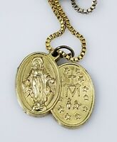 Vintage Virgin Mary Miraculous Medal Pendant Chain Necklace Gold Tone Catholic