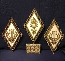 Wall Accents, Gilt Faux Gold, Harps and Flowers, 3 PieceMoldedPlastic, 8inX14in