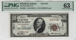 1929 $10 First National Banknote Plainfield Indiana Currency PMG Choice UNC 63