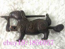 lock & key rabbit-shape statues vivid Bronze Chinese Antique g755