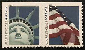 2011 Scott #4559-60 Forever - LADY LIBERTY & FLAG  - Pair of Booklet Stamps -MNH
