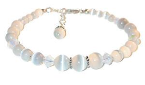 WHITE Cats Eye & Crystal Beaded Bracelet Sterling Silver Swarovski Elements