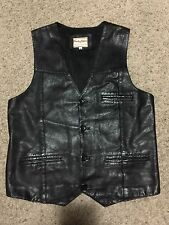 Party Skins LEATHER 4 Botton front fetish gay party cosplay vest Size 48