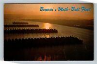 Benicia CA, Benicia's Moth Ball Ship Fleet, Sunset, Chrome California Postcard