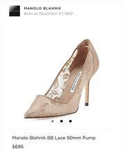Manolo Blahnik Lace & Leather  BB 90 Lace Pump Pointy Toe Shoe 40