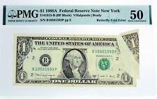 Series Of 1988 A $1 FRN New York Fr#1915-B Butterfly Fold Error Note PMG AU50
