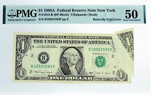 Series Of 1988 A $1 FRN New York Fr#1915-B Butterfly Fold Error Note PMG AU50