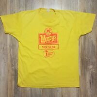 Vintage WENDYS TRIATHLON Screen Stars SHIRT Men's XL Single Stitch Fast Food 80s
