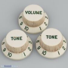 Master Relic 60's Aged PARCHMENT WHITE Green Font Knobs for Fender® Stratocaster