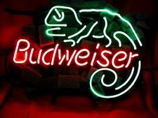 Vintage  NEON LIGHT SIGN BUD WEISER LIZARD Beer Bar Pub Artwork Poster LED