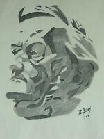 Drawing Original Lavis Black Signed R. Bienk ?Dated 1944 Portrait Richard Wagner