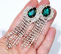 CLIP ON Peagant Chandelier Earrings Green Rhinestone 3.2 inch