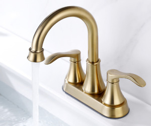 SUS 304 Bathroom Basin Sink Mixer Taps 4 inch Centerset Faucet Brushed Gold New