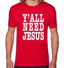 NW MEN PRINTED Y'ALL NEED JESUS GOD LOVE BIBLE CROSS CHRISTIAN THEME T-SHIRT