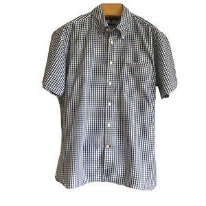 Tommy Hilfiger 100's Two Ply Cotton Short Sleeve Gingham Check Shirt XL Blue