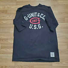 G-Unit Mens Short Sleeve T-shirt 50 Cent Heavy Weight Raw U.S.G. Black Large