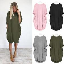 UK Womens Long Sleeve Midi Dress Ladies Big Pocket Loose Stretch Tops Plus Size