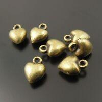 80X Vintage Style Antiqued Bronze Color Hot Sale Heart Pendant Charms 7*7*5mm