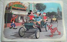 1964 Walt Disney Placemat Disneyland Mainstreet Micky Donald Goofy Minnie Pluto