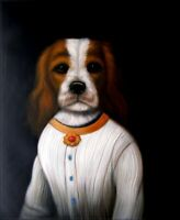 Quality Hand Painted Oil Painting Puppy in White Dress 20x24in