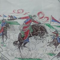 Vintage 1950s Cowboys & Indians Chief Themed Western Silk Scarf Bucking Bronco