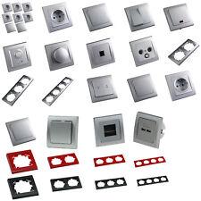 DELPHI silber Schalter LED Dimmer Taster Bewegungsmelder Steckdose RJ45 ISDN USB