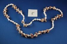 Beach Necklace small shell  30 inch brown white (5)