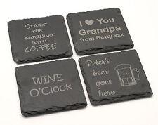 Personalized natural slate stone sign coaster engraved custom bespoke gift